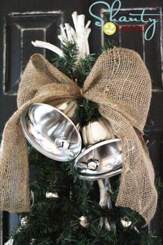 Nice change, using bells with a big burlap bow instead of a wreath!