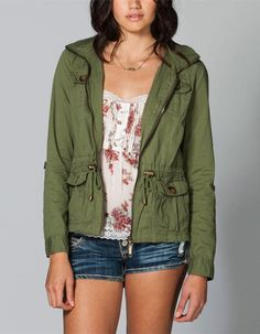 The girls want to look chic too. Treat her to some comfortable clothing, shoes and accessories by shopping Tillys. Anorak Jacket, Vest Jacket, Hooded Jacket, Olive Jacket, Studded Jacket, Jackets For Women, Clothes For Women, Cute Girl Outfits, Look Chic