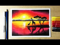 In this Video I will show you How to draw Beautiful Sunset Drawing with Oil Pastels step by step. Oil Pastel Paintings, Oil Pastel Art, Oil Pastel Drawings, Oil Pastels, Art Drawings For Kids, Cool Drawings, Beautiful Drawings, Crayon Canvas Art, Poster Color Painting