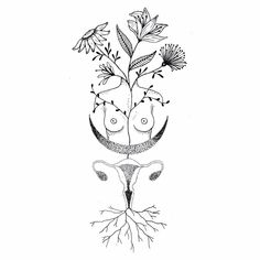 Take good care of your body! Your health is the root of your happiness. Let your happiness and health blossom ! Body Art Tattoos, Tatoos, Breastfeeding Art, Feminist Art, Art Inspo, Line Art, Art Drawings, Tattoo Designs, Illustration Art