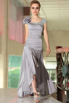 Cap Sleeves Scoop Neckline Ruched Bodice High Low Formal Dresses