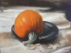 Still life with pumpkin,plate and knife.acrylic on canvas.