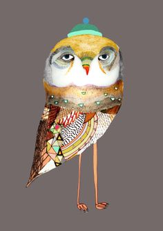 The Night Owl Illustration print Owl Drawing by AshleyPercival, $40.00