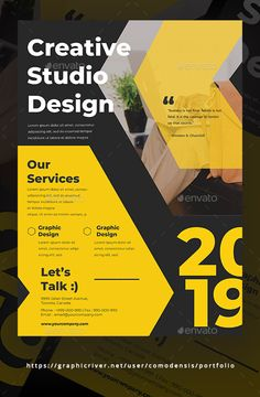 Buy Creative Studio Design Flyer by Comodensis on GraphicRiver. Event Poster Design, Graphic Design Brochure, Sports Graphic Design, Fashion Graphic Design, Creative Poster Design, Graphic Design Posters, Graphic Design Typography, Layout Design, Flugblatt Design