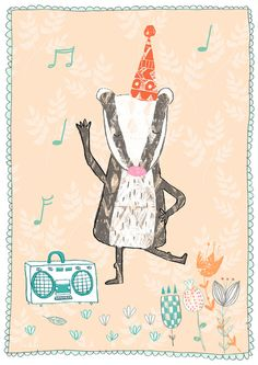 it's a dancing badger!  cards and patterns - Jenny MacKendrick illustration