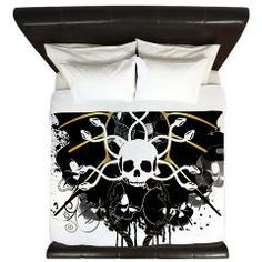 #Skulls with floral elements and #wings, #King #Duvet