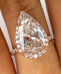 3.78CT ESTATE VINTAGE PEAR DIAMOND ENGAGEMENT WEDDING RING HALO ROSE GOLD EGL US #SolitairewithAccents