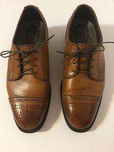 ed87b851d72 Allen Edmonds Leather Cap Toe Oxford Dress Shoes Light Brown Brogues Size  7.5 D