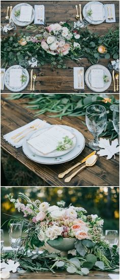 Romantic outdoor wedding reception table design, gold flatware, wooden tables, pastel floral centerpieces, vintage floral patterned plates, leafy garland, white linens, natural wedding, learn more on borrowedandblue.com // Harwell Photography