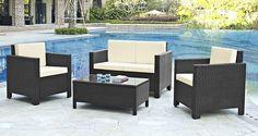 Rattan Garden Outdoor Furniture Set 4pc Lounge Sofa Chair Table Wicker Patio New