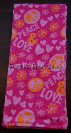 """Set of 3 XL Soft Cotton Flannel Reversible Burp Cloths: """"PEACE & LOVE"""" with Flowers and Hearts, a coordinating yellow and pink dotted print $14.25 - SAVE 10% with coupon code FIRSTPURCHASE2012 - and THANKS :)"""