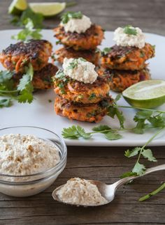 Carrot Fritters with Cumin-Lime Cashew Cream (change the flour type and remove coconut oil)