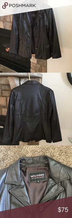 Wilsons brown leather jacket Wilsons genuine brown leather jacket with 3 button enclosure.  2 slit pockets.  16 inches from under arm to bottom.  18 inches from under arm to under arm.  Perfect condition Wilsons Leather Jackets & Coats