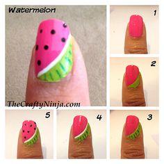 Tutorial de unhas de melancia - pule as listras na casca! Cute Nail Art, Nail Art Diy, Easy Nail Art, Diy Nails, Simple Nail Designs, Nail Art Designs, Nails Design, Fruit Nail Designs, Watermelon Nail Art
