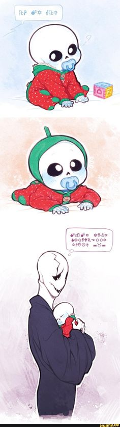Dadster Gaster and strawberry baby Sans. This is too cute for words! Translation: Oh my God. M-my tiny strawberry child. Undertale Gaster, Undertale Love, Undertale Memes, Undertale Fanart, Baby Sans, Toby Fox, Underswap, Kawaii, Video Game