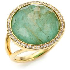IPPOLITA Rock Candy Turquoise, Rutilated Quartz, Diamond & 18K Yellow... ($2,495) ❤ liked on Polyvore featuring jewelry, rings, apparel & accessories, 18k yellow gold ring, gold statement ring, 18k gold ring, turquoise cocktail ring and gold turquoise ring
