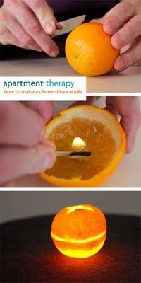 DIY Clementine Candle. Burns like a candle, smells like an orange!