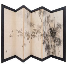 Japanese Late 19th Century Six-Panel Paper Screen | From a unique collection of antique and modern paintings and screens at http://www.1stdibs.com/furniture/asian-art-furniture/paintings-screens/