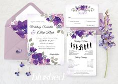Items similar to Purple Wedding Invitations – Ultra Violet Wedding Invitations – Printable Wedding Invitations – Watercolor Wedding Stationery - Ultra Violet on Etsy Garden Wedding Invitations, Purple Wedding Invitations, Wedding Invitation Cards, Wedding Stationery, Wedding Cards, Invites, Printable Wedding Programs, Floral Invitation, Just In Case