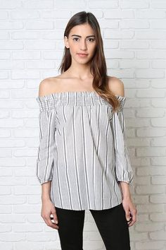 Elise Striped Off-The-Shoulder Tunic | #offtheshoulder #stripedtop #offtheshouldertop