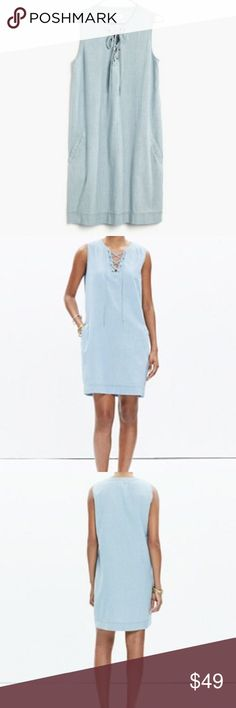 Madewell Chambray Lace Up Shift Dress in Medium NWT This cotton dress is stylish and comfortable! Madewell Dresses