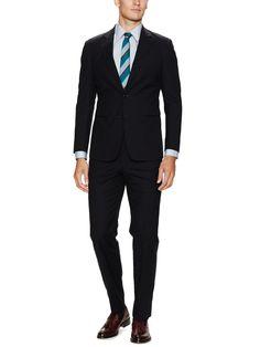 Navy Cotton Solid Suit by Armani Collezioni at Gilt