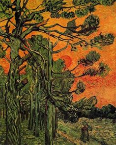 Vincent van Gogh, Pine trees at sunset Another Oil painting of nature. This is what Van Gogh loved. Nature in its own environment, was the epitome of what Van Gogh became famous for. Rembrandt, Vincent Van Gogh, Art Van, Claude Monet, Desenhos Van Gogh, Van Gogh Arte, Van Gogh Pinturas, Van Gogh Paintings, Dutch Artists