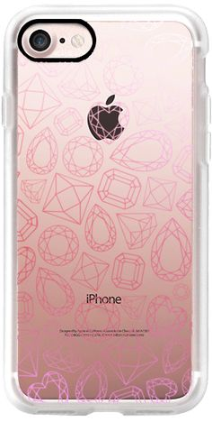Casetify iPhone 7 Classic Grip Case - Pink Ombre Diamonds Glamorous Girly Girl Fabulous Clear Pink by Coral Antler Creative #Casetify