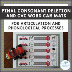 Final Consonant Deletion and CVC Car Mats for Apraxia and Phonology Articulation Therapy, Articulation Activities, Speech Therapy Activities, Preschool Speech Therapy, Speech Language Therapy, Speech Pathology, Final Consonant Deletion, Cv Words, Phonological Processes