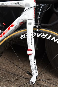 #FabianCancellara's custom 2015 #TrekDomane - #Cancellara's front fork and timing chip!