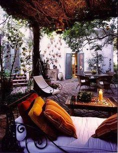 bohemian interior design Affordable Interior Design by Applying Bohemian Style Outdoor Rooms, Outdoor Gardens, Outdoor Living, Outdoor Decor, Outdoor Retreat, Outdoor Lounge, Outdoor Seating, Patio Interior, Interior Exterior