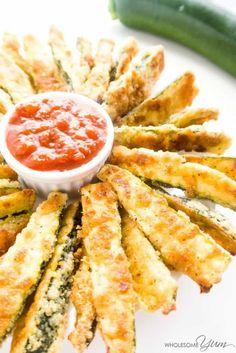Crispy Parmesan Zucchini Fries (Low Carb, Gluten-free) - These gluten-free, low carb zucchini fries have a crispy parmesan coating.