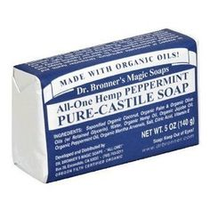 Amazon.com: Dr. Bronners Magic Soaps Pure-Castile Soap, All-One Hemp Peppermint, 5-Ounce Bars (Pack of 6): Beauty