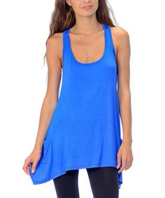 Loving this Royal Blue Sidetail Racerback Tank on #zulily! #zulilyfinds