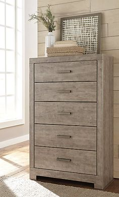 Culverbach Chest of Drawers | Ashley Furniture HomeStore Leather Furniture, Wood Furniture, Spare Bed, Grey Bedroom Furniture, At Home Store, Engineered Wood, Chest Of Drawers, Cushion Covers, Light In The Dark