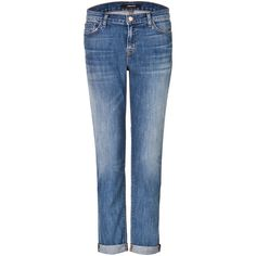 J Brand Jeans Cuffed Slim Boyfriend Jeans ($140) ❤ liked on Polyvore featuring jeans, pants, blue, cuff jeans, loose boyfriend jeans, cuffed jeans, loose jeans and faded jeans