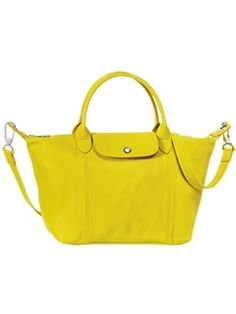 Le sac Pliage Cuir citron de Longchamp