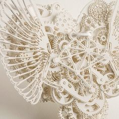 Clockwork Love, mechanical heart paper sculpture by designer Frank Tjepkema, or Tjep http://www.tjep.com/studio/works/accessories/clockwork-love-paper #paper_art #paper_crafting