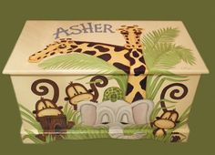 Jungle Toy Chest custom designed with a soft yellow background done with Monogram or Name, kids furniture, art and decor, wooden toy box Wooden Toy Boxes, Painted Wooden Boxes, Painted Chairs, Wooden Toys, Hand Painted, Diy Kids Furniture, Arte Country, Yellow Background, Old Toys