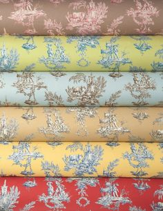 Brightly colored toile de Jouy by Brunschwig & Fils