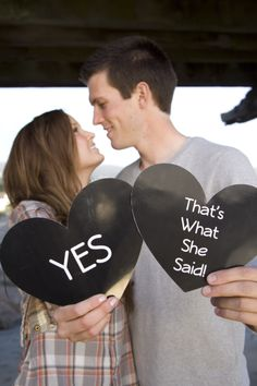 Cute engagement picture, wedding, That's what she said, funny, cute couple
