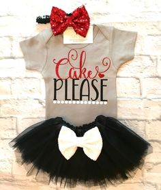 Baby Girl Clothes, Cake Please Onesies, Cake Please Shirts, Baby Girl Birthday Bodysuits, Smash Cake Onesies, Baby Girl Birthday Outfits, Cake Please - BellaPiccoli
