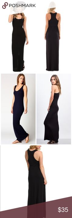 Just In ❤ Black Maxi Dress Black Maxi Dress with flattering racerback maxi can be dressed up or down, while providing softness and comfort from our signature Eco Jersey. Features raw-edge bottom hem. Eco-Jersey 95% Viscose, 5% Spandex ,  Racerback Detail Set In Neckband Raw Hemline at Bottom Opening  Made with U.S.A. Dresses Maxi