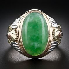 Gents Four-Color Gold Jade Ring