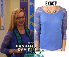 "Dove (as Maddie) wore this top on Liv & Maddie ""Howl-A-Rooney"" Forever 21 Blue Lace Sleeve Linen Top Sold out Available on ..."