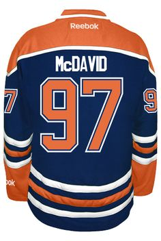 Edmonton Oilers Connor McDAVID #97 Official Home Reebok Premier NHL Hockey Jersey