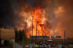 """Flames rise in Industrial area south Fort McMurray, Alberta Canada May The whole city of Fort McMurray, Alberta, the gateway to Canada's oil sands region, is under a mandatory evacuation order because of an uncontrolled wildfire that is rapidly s Tahiti, Oil Sands, Fort Mcmurray, Canadian History, Loin, Alberta Canada, Photos, Pictures, Photographs"