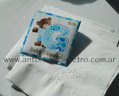 BABY SHOWER. servilletas. napkins. Sobres de té personalizadados. Patchwork http://antonelladipietro.com.ar/blog/2012/05/baby-shower-de-pia-slapka/