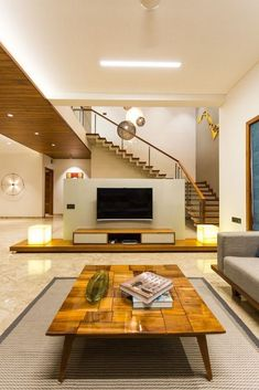 Share this on Design with Straight-lines, Creative and Comfortable Responses Bungalow Interiors, Bungalow House Design, House Front Design, Modern House Design, Ceiling Design Living Room, Stairs In Living Room, Living Room Designs, Apartment Interior, Room Interior
