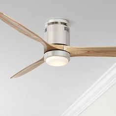 "52"" Windspun Natural Nickel LED DC Hugger Ceiling Fan"